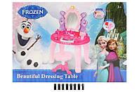 Детский музыкальный макияжный столик с зеркалом 383-026FR, набор парикмахерский, трюмо