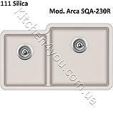 Двухчашевая гранітна мийка 810х480 мм. Aquasanita (Литва) Arca SQA-230R, монтаж під або в стільницю, фото 3