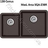 Двухчашевая гранітна мийка 810х480 мм. Aquasanita (Литва) Arca SQA-230R, монтаж під або в стільницю, фото 8