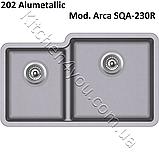 Двухчашевая гранітна мийка 810х480 мм. Aquasanita (Литва) Arca SQA-230R, монтаж під або в стільницю, фото 6