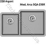 Двухчашевая гранітна мийка 810х480 мм. Aquasanita (Литва) Arca SQA-230R, монтаж під або в стільницю, фото 7