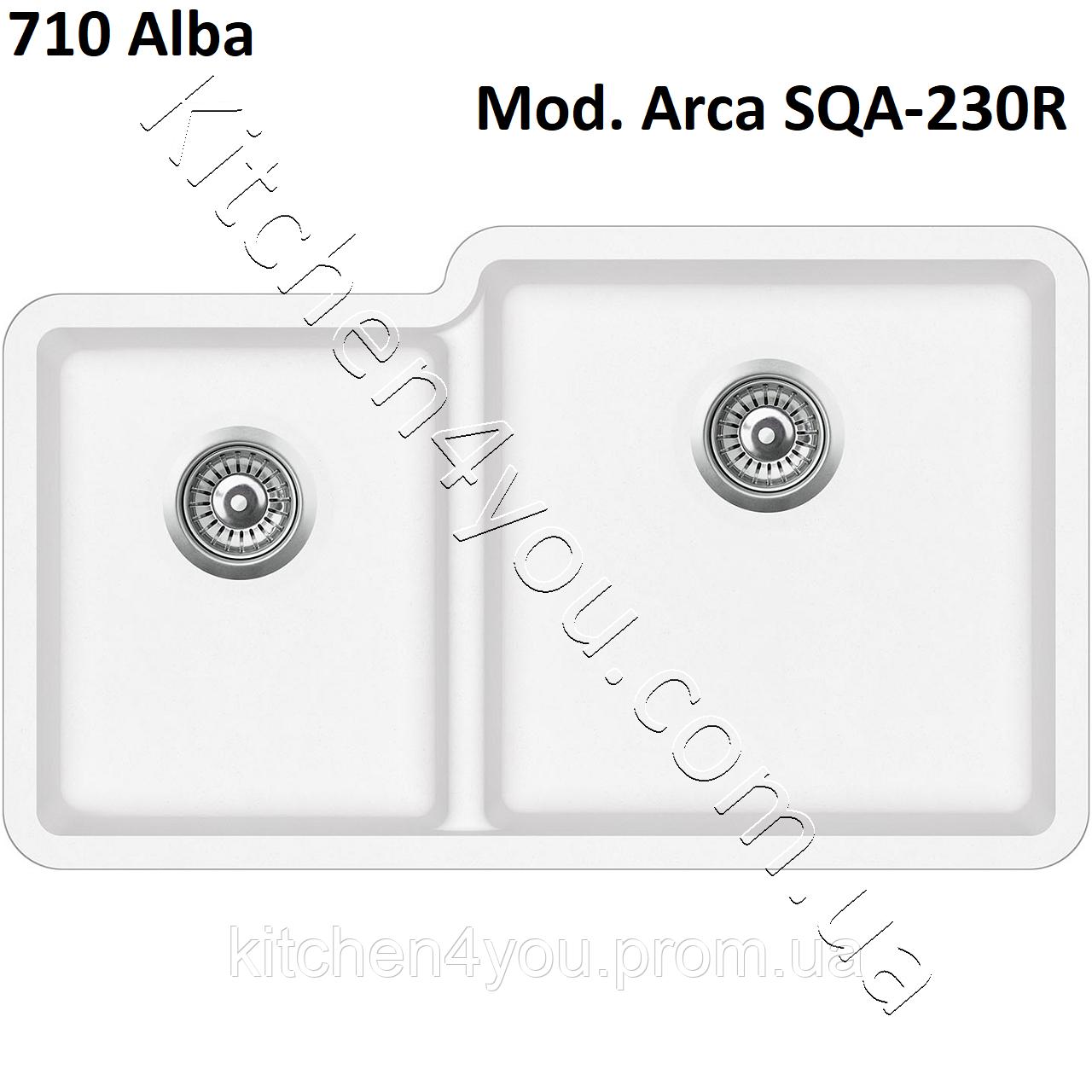 Двухчашевая гранітна мийка 810х480 мм. Aquasanita (Литва) Arca SQA-230R, монтаж під або в стільницю
