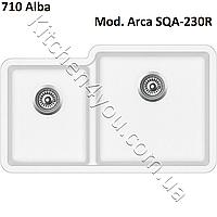 Двухчашевая гранитная мойка 810х480 мм. Aquasanita (Литва) Arca SQA-230R, монтаж под или в столешницу