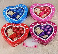 Набор мыла ручной работы Сердце Мишка с цветами.