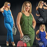 Модный джинсовый костюм жилет и брюки