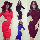 Облегающее женское платье трикотаж 42-46р цвета в ассортименте
