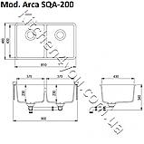 Гранитная двухчашевая мойка 810х480 мм. Aquasanita (Литва) Arca SQA-200, монтаж под или в столешницу, фото 2