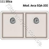Гранитная двухчашевая мойка 810х480 мм. Aquasanita (Литва) Arca SQA-200, монтаж под или в столешницу, фото 4