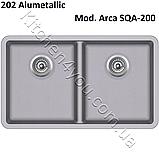 Гранитная двухчашевая мойка 810х480 мм. Aquasanita (Литва) Arca SQA-200, монтаж под или в столешницу, фото 7