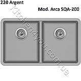 Гранитная двухчашевая мойка 810х480 мм. Aquasanita (Литва) Arca SQA-200, монтаж под или в столешницу, фото 8