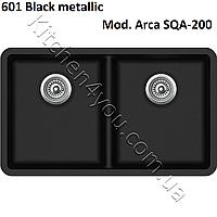 Гранитная двухчашевая мойка 810х480 мм. Aquasanita (Литва) Arca SQA-200, монтаж под или в столешницу
