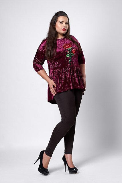 Модная велюровая блуза цвет фуксия