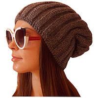 Женская вязаная шапка носок,объемной крупной вязки