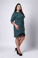 Однотонное платье со вставкой гипюра