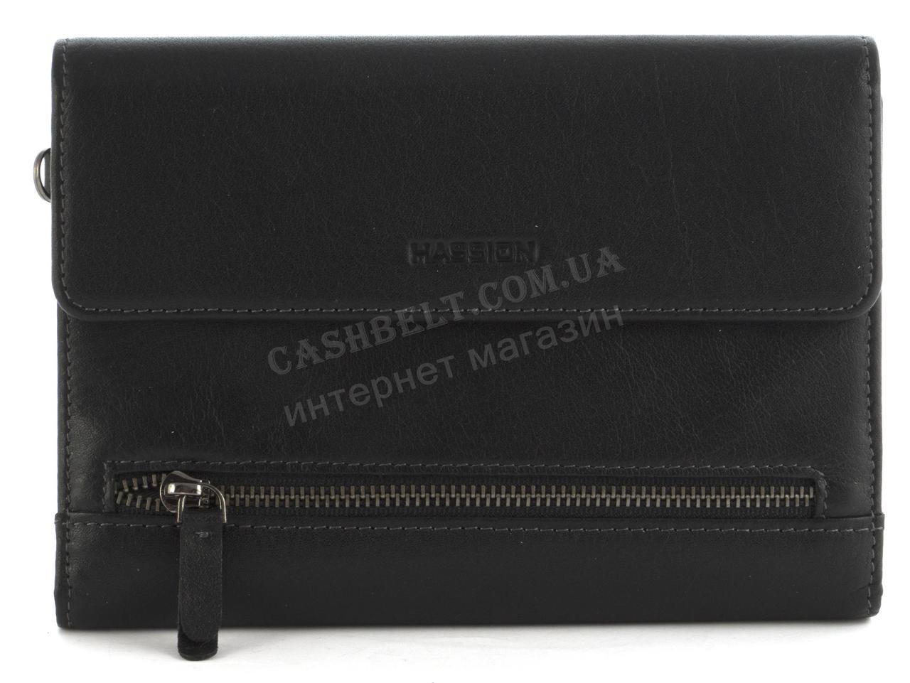 Мужская стильная прочная барсетка бумажник с натуральной высококачественной кожи HASSION art. H-092B черный