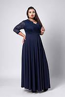 Модное темно-синие длинное платье