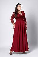 Красивое бордовое платье в сочетании двух тканей