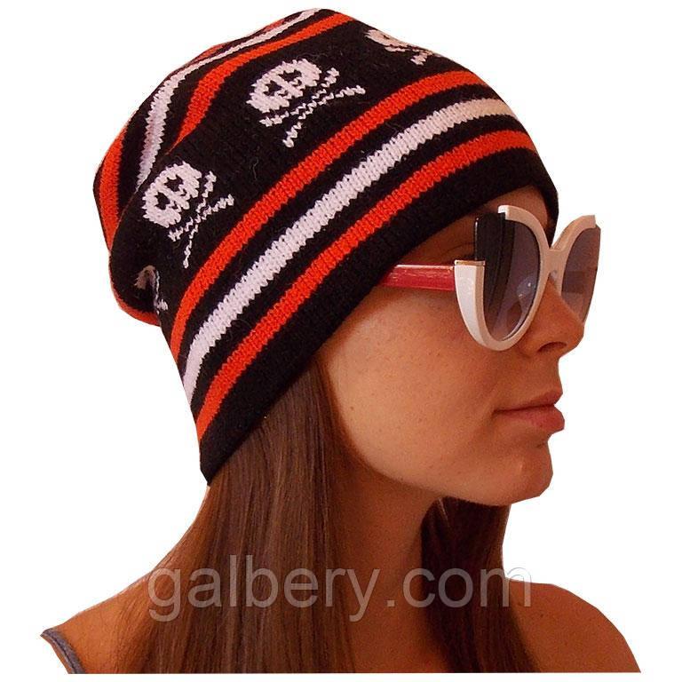 Женская вязаная зимняя шапка - носок с орнаментом