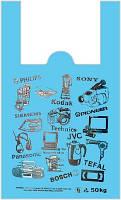 """Пакеты полиэтиленовые майка """"Электроника"""" 35*58 см  /уп.50шт, фото 1"""