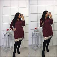 Стильное бордовое платье-рубашка с кружевом