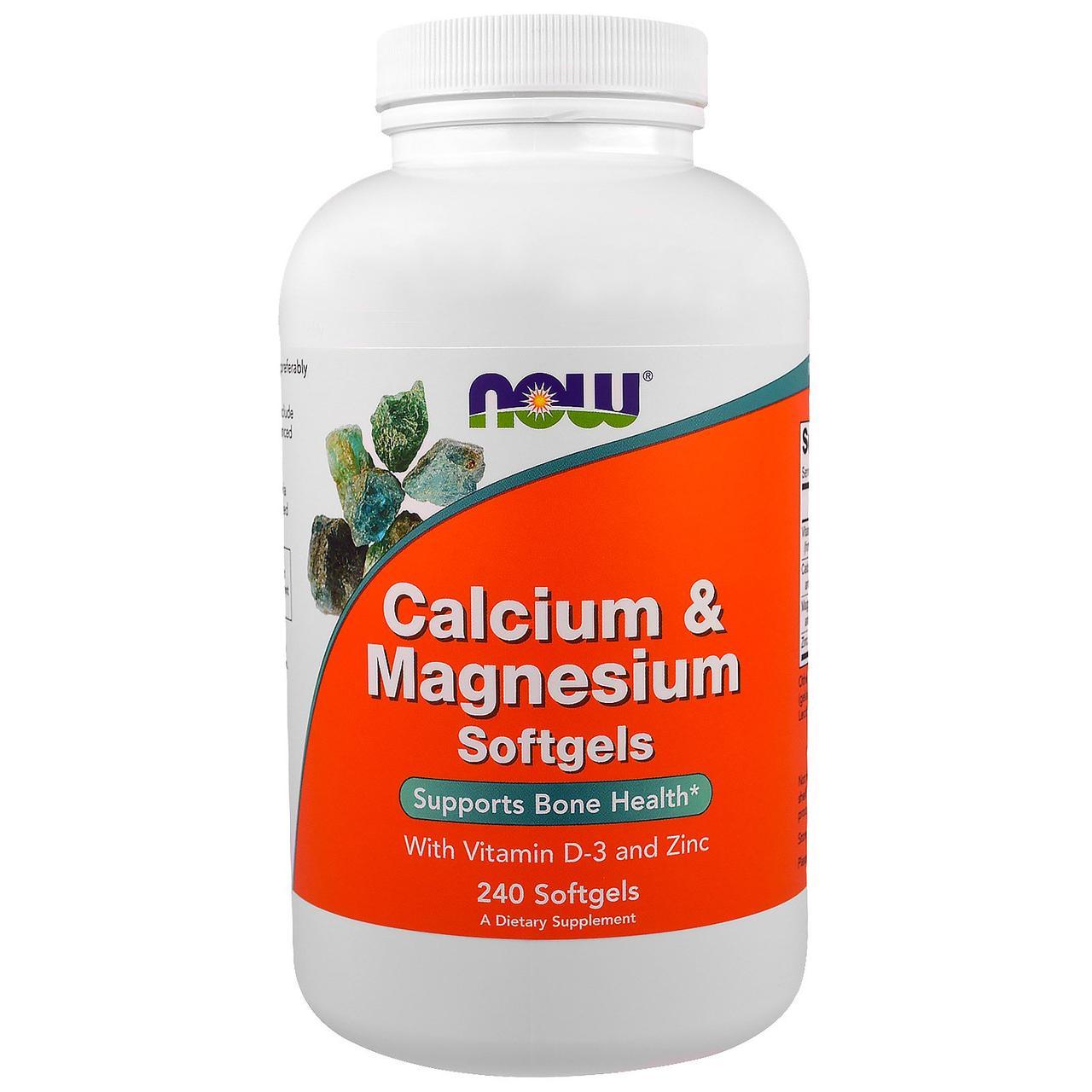 Комплекс кальция и магния, Now Foods, 240 гелевых капсул