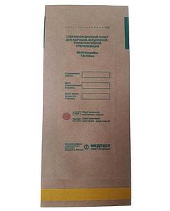 Пакет для парової, повітряної, етиленоксидної, радіаційної стерилізації паперовий самоклеючий плоский ПСПВ-СтериМаг 75х150 (крафт) 100 шт, коричневий