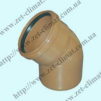 Колено для наружной канализации 110 мм 67⁰ ПВХ