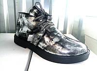 Оригинальные женские демисезонные ботинки, замшевые с накаткой-серебро , фото 1