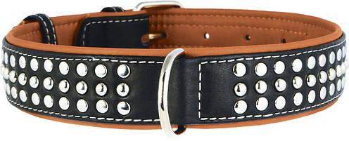 Ошейник кожаный с украшениями Collar Soft 57-71 см 35 мм