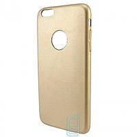 Чехол накладка кожаный для Apple iPhone 6 Plus золотистый