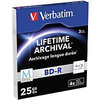 Диск BD-R Verbatim 25Gb 4x SlimCase 3шт M-DISC (43827)