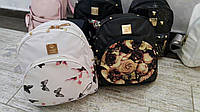 Городской рюкзак , мини рюкзак , белый в бабочках рюкзак