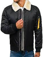 Мужская зимняя  куртка Бомбер с  меховым воротником