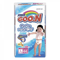 Трусики - подгузники Goo.N L 4 для девочек (9-14 кг.), 44шт.