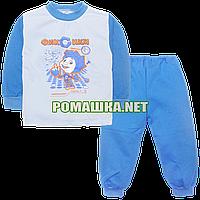 Детская байковая пижама для мальчика с начесом р. 92-98 ткань ФУТЕР 100% хлопок ТМ Алекс 3827 Голубой 92