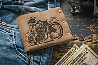 Мужской кожаный кошелек ТатуНаКоже, мотоцикл, фото 1