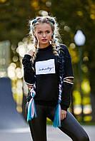 Молодёжная женская чёрная кофта с длинным рукавом, двунитка, размеры 44, 46, 48