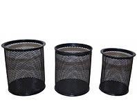 """Подставка для ручек """"Сетка"""" 3 шт, круглая метал. черная,серая"""