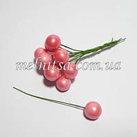 Шарик на проволоке, 12 мм, цвет розовый перламутровый, 10 шт.