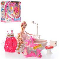 Мебель JJ6604 ванна20см(звук),кукла28см,наряд