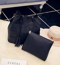 Стильный набор, сумка и клатч с красочным поясом, фото 2