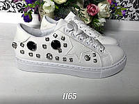 Женские белые кеды STAR с атласными шнурочками