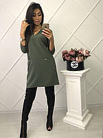 Красивое платье оливкового цвета