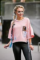 Оригинальная молодёжная, женская, персиковая кофта, двунитка, размеры 44, 46, 48