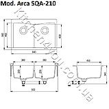 Прямоугольная гранитная мойка 840х560 мм. Aquasanita (Литва) Arca SQA-210, монтаж под или в столешницу, фото 2