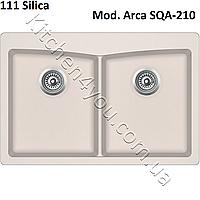 Прямоугольная гранитная мойка 840х560 мм. Aquasanita (Литва) Arca SQA-210, монтаж под или в столешницу