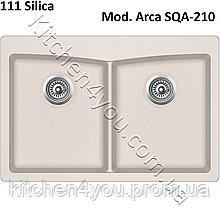 Прямокутна гранітна мийка 840х560 мм. Aquasanita (Литва) Arca SQA-210, монтаж під або в стільницю