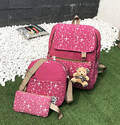 Большой звездный набор рюкзак, сумка и клатч, с брелком, фото 2