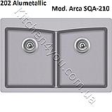 Прямоугольная гранитная мойка 840х560 мм. Aquasanita (Литва) Arca SQA-210, монтаж под или в столешницу, фото 6
