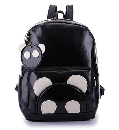 Большой черный рюкзак панда с брелком , фото 2